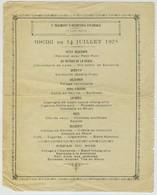 Menu Du 14 Juillet 1905. 3e Régiment D'Infanterie Coloniale. 1ère Compagnie. - Menus