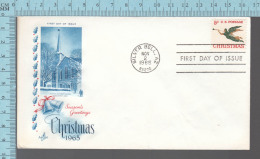 USA Envelope - FDC 1965 - Image  = Christmas People Methodist Church Newburyport Mass  - 5¢  Stamp - Premiers Jours (FDC)