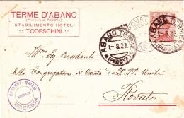 1923- Cartolina Intestata Terme D'Abano (provincia Di Padova) Stabilimento Hotel Todeschini - Padova (Padua)