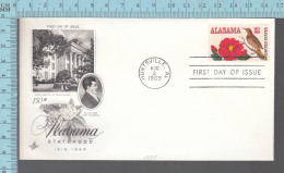 USA Envelope - FDC 1969 - Image = 105 Th Alabama Statehood, William Bird - 6¢  Stamp - Premiers Jours (FDC)