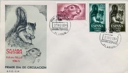 1964 , SAHARA ESPAÑOL , SOBRE DE PRIMER DIA , ED. 236 / 238 , DIA DEL SELLO , ARDILLAS - Sahara Español