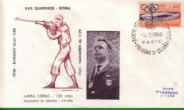 FDC FILAGRANO OLIMPIADI ROMA 1960 I VINCITORI:TIRO  Arma Libera 120 Colpi   HAMMERER. - Italia