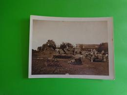 Photo Ancienne Depiquage-moissonneuse Batteuse Avec Personnes Anonyme   10.5 X 8 Cm -travaux Des Champs-vie Rurale - Anonyme Personen