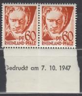 AllBes, FranzZone RHEINLAND-PFALZ 12 Y V Br U, Type IV + V, Postfrisch **, Druckdatum: 7.10.1947 - Zone Française