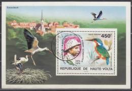 OBERVOLTA  Block 35, Gestempelt, 100. Geburtstag Von Albert Schweitzer: Vögel: Eisvogel, Storch, 1975 - Upper Volta (1958-1984)