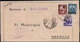 1948-piego Municipale Affrancato 50c.+L.2+L.5 Democratica Annullo Sulzano Brescia - 6. 1946-.. República
