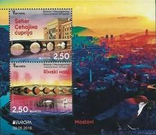 "BOSNIA I HERZEGOVINA/ BOSNIA SARAJEVO - EUROPA 2018 -TEMA - ""PUENTES.- BRIDGES - BRÜCKEN - PONTS"" - HOJITA BLOQUE - 2018"