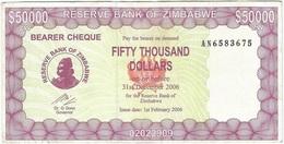 Zimbabue - Zimbabwe 50.000 Dollars 01-02-2006 Pick 30 Ref 1769 - Zimbabwe