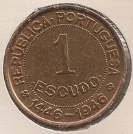 Moeda Guiné Bissau Portugal - Coin Guiné Bissau - 1 Escudo 1946 - MBC + - Guinea-Bissau