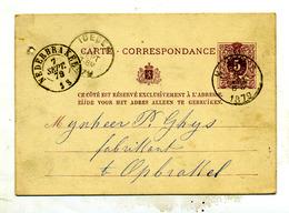 Belgique Entier 9 De Ninove Pour Opbrakel Par Idegem - Cartes Postales [1871-09]