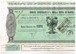 Obligation Ancienne - Debito Unificato 5% Della Citta Di Napoli - Titre De 1949 - Actions & Titres