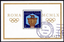 Costa Rica 1960 Olympics Souvenir Sheet Perf\ - Costa Rica