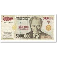 Billet, Turquie, 5,000,000 Lira, L.1970, KM:210, TTB - Turkey