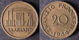 SARRE  20 Franken Ou Franc Sarrois 1954   SARRELAND Protectorat / Zone D'occupation Française En Allemagne   Port Offert - Monnaies