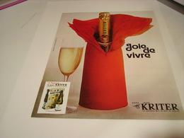 ANCIENNE PUBLICITE JOIE DE VIVRE VIN MOUSSEUX KRITER 1972 - Alcohols