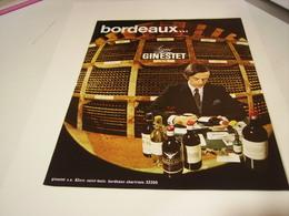 ANCIENNE PUBLICITE VIN DE BORDEAUX DE GINESTET 1972 - Alcohols