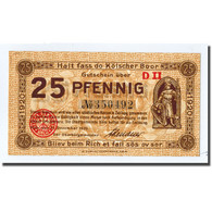 Billet, Allemagne, Köln, 25 Pfennig, Monument, 1921, 1920-12-31, SPL - Other