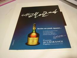 ANCIENNE PUBLICITE   COGNAC GASTON DE LAGRANGE UNE SIGNATURE 1972 - Alcohols