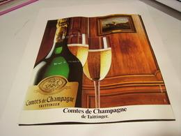 ANCIENNE PUBLICITE LE CHAMPAGNE TAITTINGER 1987 - Alcohols