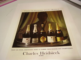 PUBLICITE AFFICHE  CHAMPAGNE CHARLE  HEIDSIECK 1983 - Alcohols