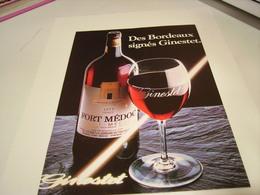 ANCIENNE PUBLICITE VIN DE BORDEAUX DE GINESTET 1983 - Alcohols