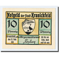 Billet, Allemagne, Kranichfeld, 10 Pfennig, Paysage 1, 1921, 1921-02-22, SPL - Other
