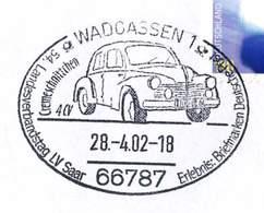 """08  Renault 4CV: Oblit. Temp. D'Allemagne. Waldgassen, Sarre 2002. """"La Motte De Beurre"""" - """"Cremeschnittchen"""" Automobile - Voitures"""