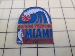 512i Pin's Pins : Rare Et Belle Qualité  SPORTS / BASKET-BALL USA NBA MIAMI ALL STAR WEEKEND 1990 - Basketball