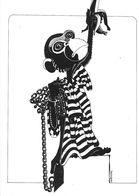 ILLUSTRATEUR BERNARD PRADIGNAC DESSIN ORIGINAL SINGE ENCHAÎNE BANANE - Illustrateurs & Photographes