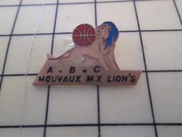 512i Pin's Pins : Rare Et Belle Qualité  SPORTS / BASKET-BALL CLUB ABC MOUVAUX MX LION'S - Basketball