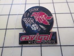 512i Pin's Pins : Rare Et Belle Qualité  SPORTS / BASKET-BALL CAVIGAL NICE SPORT DUNK - Basketball