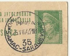 Yugoslavia Bosnia , Cancel - Omladinska Pruga Samac Sarajevo 35 ,used 1947 - Trains