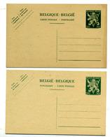 Belgique Entiers  Type Lion V 2 Cartes Neuves - Stamped Stationery