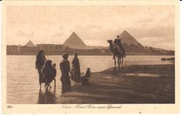 POSTAL      EL CAIRO  -EGIPTO  - TIEMPO DE INUNDACION CERCA DE LAS PIRAMIDES  (FLOOD TIME NEAR PYRAMIDS ) - El Cairo