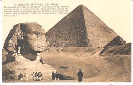 POSTAL      EL CAIRO  -EGIPTO  - LA PÌRAMIDE DE CHEOPS Y SU ESFINGE - El Cairo