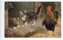 CPA Poule Coq Chatons Chats Scène De Ferme Basse Cour Oilette Serie Challenging All Comers 9361 Illustrateur Cobbs - Gatti