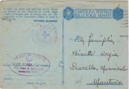 1943 CROCE ROSSA UDINE Ovale E Tondo Su Cartolina Franchia Con Comunicazione Di Passaggio Prigioniero Guerra Italiano De - 1900-44 Vittorio Emanuele III