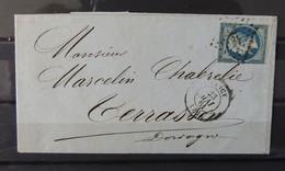 France N° 14 Seul Sur Lettre De Nancy à Destination DeTerrasson - Dordogne - 1853-1860 Napoléon III