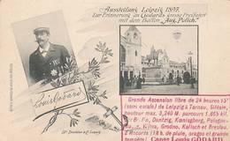 """CPA:AUSSTELLUNG LEIPZIG 1897 ZUR ERINNERUNG  PORTRAIT LOUIS GODARDS TOUR GRATUIT DANS SON BALLON """"AUG.POLICH"""" - Flugwesen"""