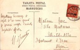 Maroc Morocco Marruecos Larache 1905 Et 1912 Sur Carte ( X 2 ) (  Affrt Mouchon Blanc ) Distribution Lettre Cover Carta - Briefe U. Dokumente