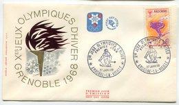 RC 9594 ANDORRE JEUX OLYMPIQUES DE GRENOBLE 1968 SUR 5 ENVELOPPE FLAMME 1er JOUR FDC TB - Winter 1968: Grenoble
