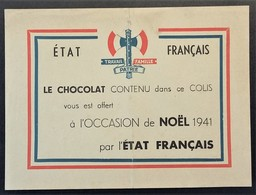 Doc Francisque Travail Famille Patrie  COLIS Prisonnier De Guerre CHOCOLAT Offert NOËL 1941 Par L'Etat Français - Marcophilie (Lettres)