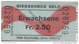 Schweiz - Bern - Belp - Giessenbad - Eintrittskarte - Eintrittskarten