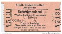 Schweiz - Aargau - Rheinfelden - Städtische Badeanstalten - Wechselkabine 3/4 Stunde - Eintrittskarten