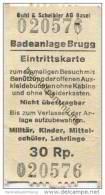 Schweiz - Aargau - Brugg - Badeanlage - Eintrittskarte - Eintrittskarten