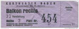 Schweiz - Aargau - Kurtheater Baden - (Stadttheater AG St. Gallen) Eintrittskarte - Eintrittskarten