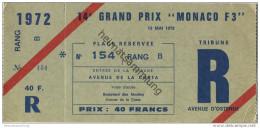 "Monaco - 14e Grand Prix """" Monaco F3"""" - Ticket Eintrittskarte 1972 - Eintrittskarten"