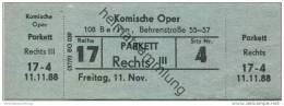 Deutschland - Berlin - Komische Oper - Eintrittskarte 1988 - Eintrittskarten