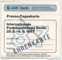 Deutschland - Berlin - AMK Berlin - Presse-Tageskarte - Internationale Funkausstellung 1987 - Ehrenkarte - Eintrittskart - Eintrittskarten