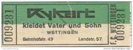 Schweiz - Aargau - F. C. Wettingen - Eintrittskarte - Werbung: Herrenbekleidung Kykart - Eintrittskarten